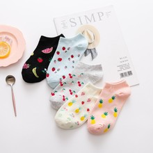 1 Pair Ins Cute Watermelon Strawberry Pineapple Pattern Women Socks Creative Cotton Summer Spring Funny for Girls Ladies