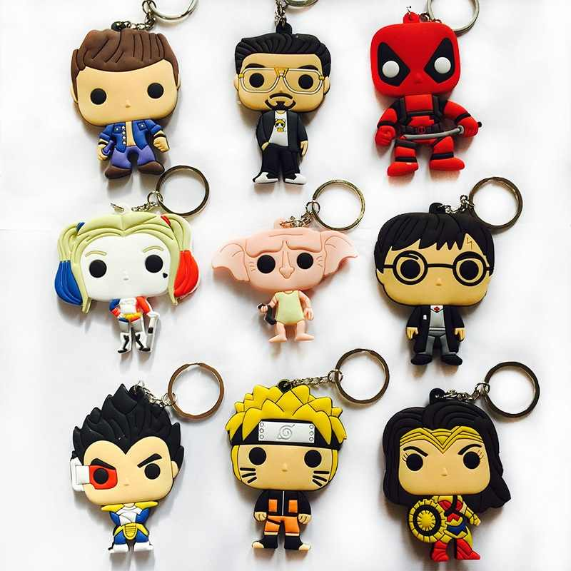 DC Comics Mulher Maravilha Naruto Dragon Ball Vegeta Keychain HP Potter Dobby Harley Quinn Action Figure Toy Deadpool Brinquedos de PVC