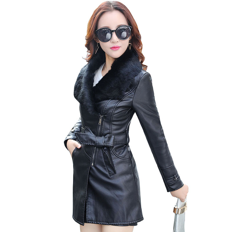 2018 Fur Collar Women Long   Leather   Jacket Coat Female Winter Long Sleeve   Suede   Fur Jacket Women Bow Motorcycle Jacket QH0935