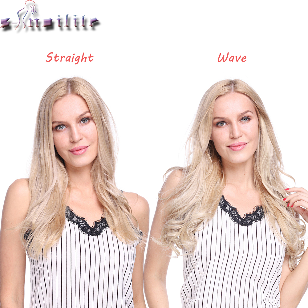 S-noilite 20 inch Invisible Wire No Clip One Piece Halo Hair Extensions Secret Fish Line Hairpieces Wave Straight Synthetic 2