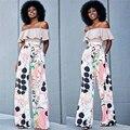 2 Peça Set Mulheres Verão 2016 de Moda das Mulheres Top de Culturas e Calças Set Ladies Impresso Calças Dois Conjuntos de Peças