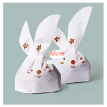 Kawaii 100pcs/lot Cute Rabbit Ear Cookie Bags Plastic Pouch For Biscuits Snack bread Baking Package Gifts wholesale price(China (Mainland))