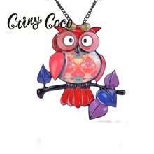 Enamel Red Owl Necklace & Pendant Black Alloy Lovely Animal Bird Leaf Necklaces Charm Statement Chains Jewelry Long Chain 2019 цена
