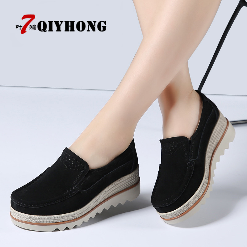 2018 New Autumn Women Flats Shoes Thick Soled Platform Shoes   Leather     Suede   Casual Shoes Slip On Flats Creepers Moccasins