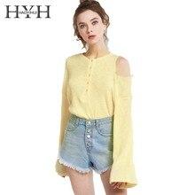 HYH Haoyihui Hollow A Shoulder Femme Office Lady O-neck Girls Button-fastened top One-shoulder Flared Sleeve Tasymmetric shirt