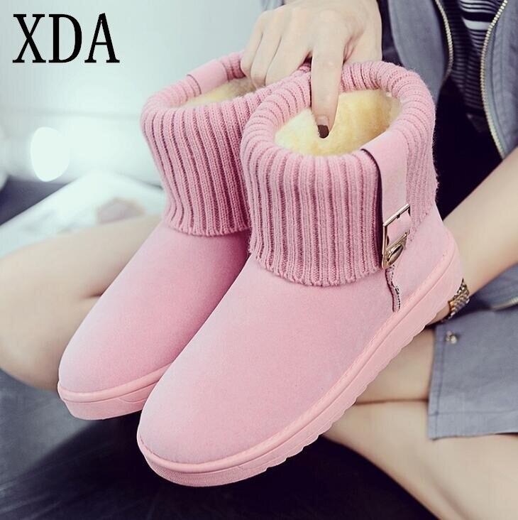 XDA 2019 mode d'hiver bottes femmes de bottes tête ronde velours daim chaud neige bottes 36-40 Glissement Sur femmes Appartements Occasionnels bottes F717