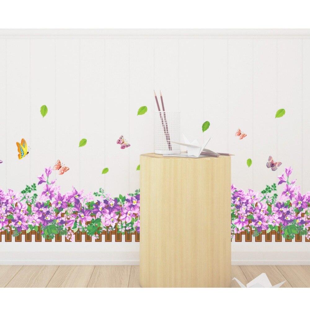 clover wall stickers green grass border wallpaper plants decals ...