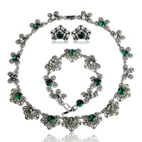 Blucome Vintage Jewelry Sets Antique Silver Plated Bowknot Choker Necklace Earrings Bracelet Green Rhinestones Colar Pulseira