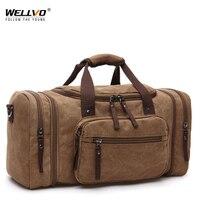 Wellvo Erkekler Büyük Kapasiteli kanvas çanta Taşınabilir Seyahat Duffle Havaalanı Tren omuzdan askili çanta Çalışmak Bolsos Mujer Kahverengi XA1740C