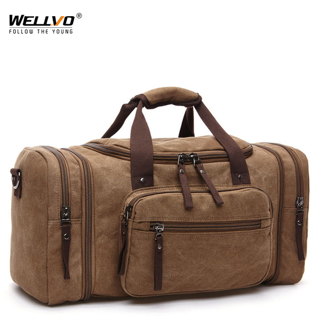 d07df33a52 Wellvo Men Large Capacity Canvas Handbag Portable Travel Duffle Airport  Train Shoulder Bag Work Out Bolsos Mujer Brown XA1740C