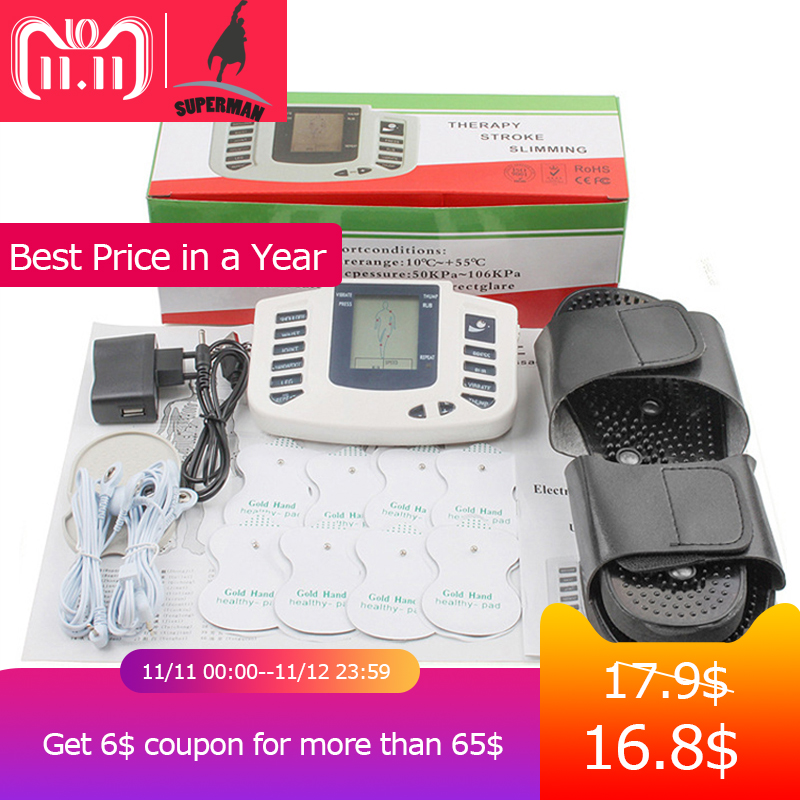 Tens machine electrode pad therapy physiotherapy tens slipper pulse massager electrode muscle stimulator with 8 pads nano rechargable mini machine digital tens ems therapy massager electrode muscle stimulator acupuncture 8 mode russian gift