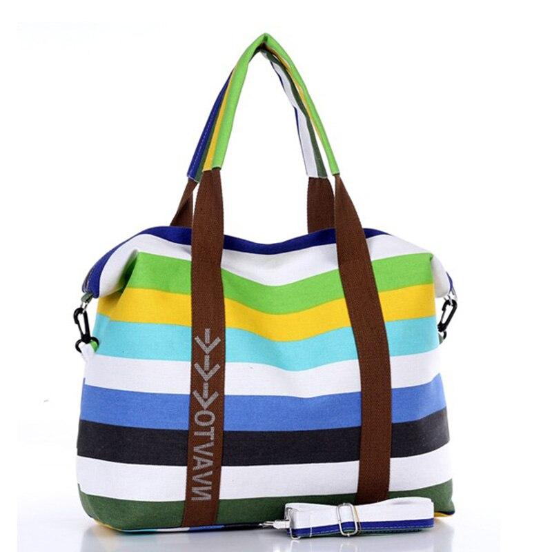 Large Handbags Purse Messenger-Bag Canvas Stripe Beach Tote Female Women Ladies Bolsa