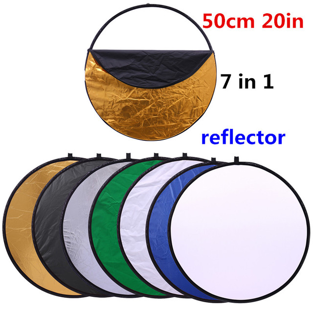 CY 20 50 سنتيمتر 7 في 1 العروة المحمولة للطي ضوء مستدير التصوير عاكس ل استوديو متعددة صور القرص أكياس مضغوطة