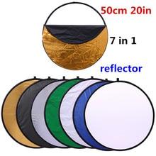 CY 20 50 cm 7 in 1 maniglia Portatile Pieghevole Luce Rotonda Fotografia Riflettore per Studio Multi Photo Disc sacchetto compresso