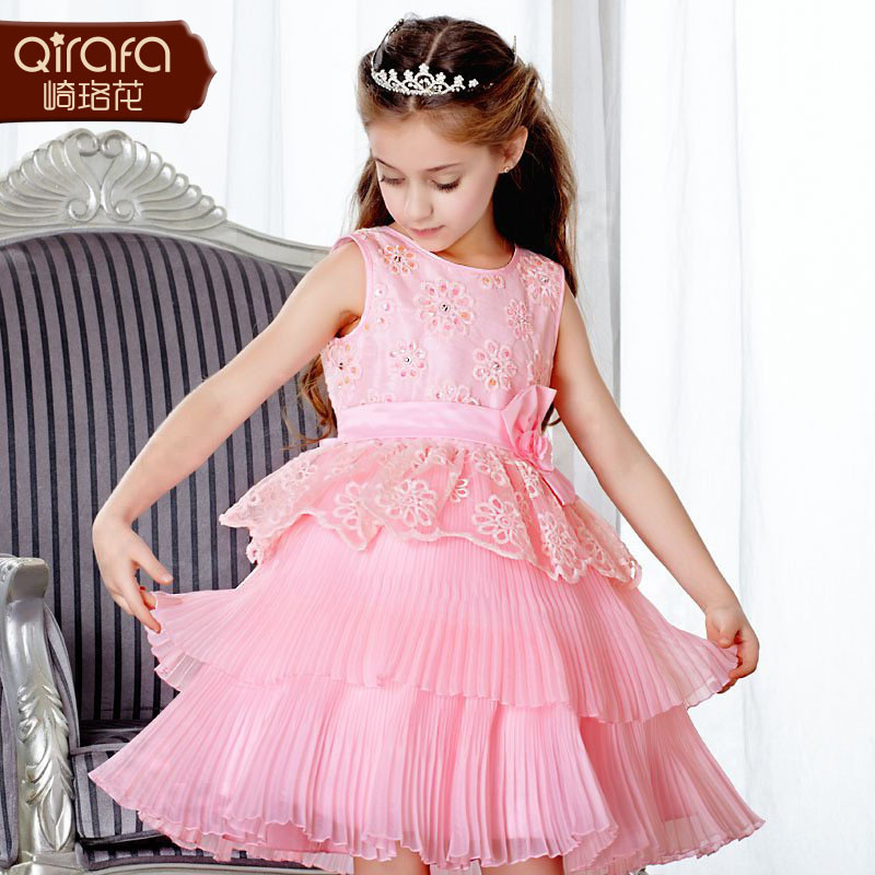 2017 Brand New Hot Flower S Dresses For Party And Wedding Cute Lovely Pink Color Summer Child Dress