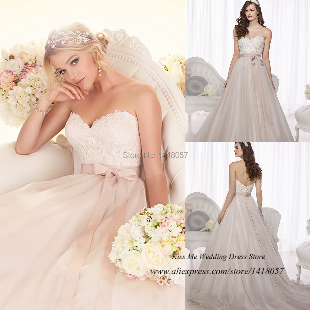 White Wedding Dresses with Pink Sash | Dress images