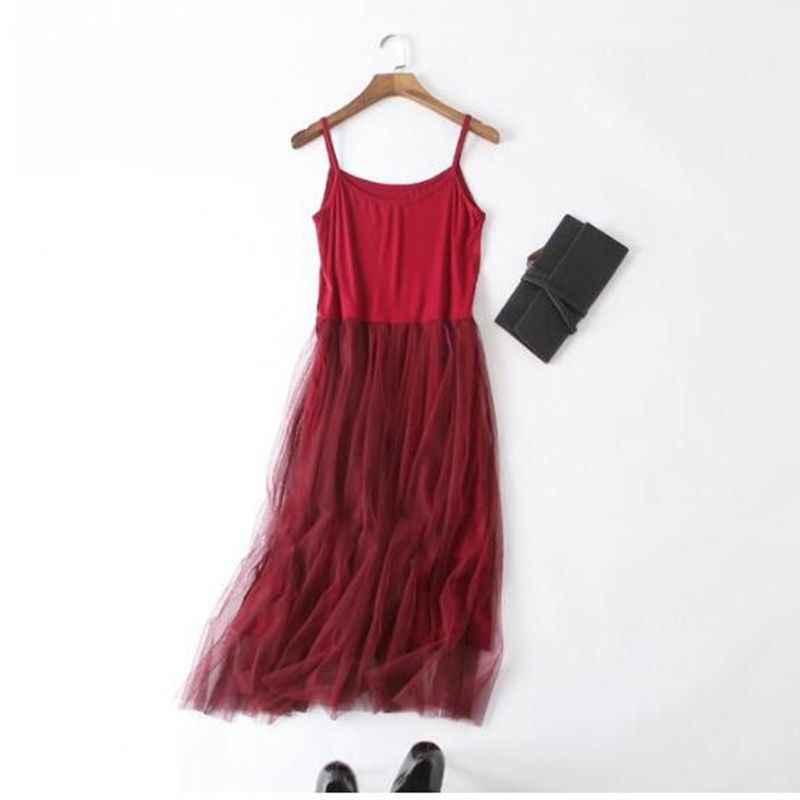 2019 الربيع أكمام حبال الشاش الدانتيل اللباس النساء تونك الأساسية طويلة فساتين الصيف مشروط شبكة رمادي مثير اللباس
