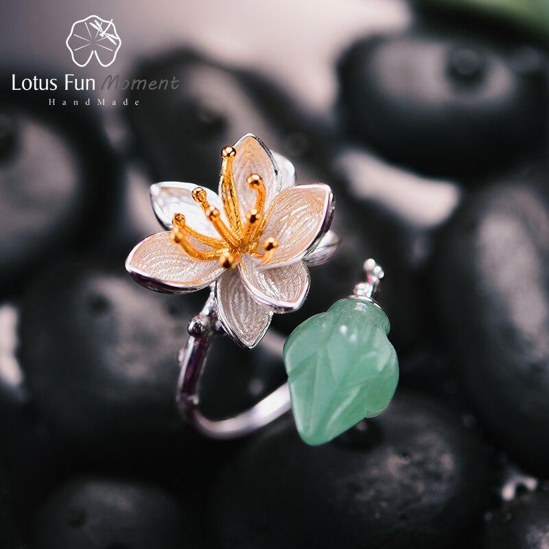 Lotus Plaisir Moment Réel 925 Sterling Argent Pierre Naturelle Bijoux De Mode Vintage Bague Fleur Lotus Chuchotements Anneau pour les Femmes Bijoux
