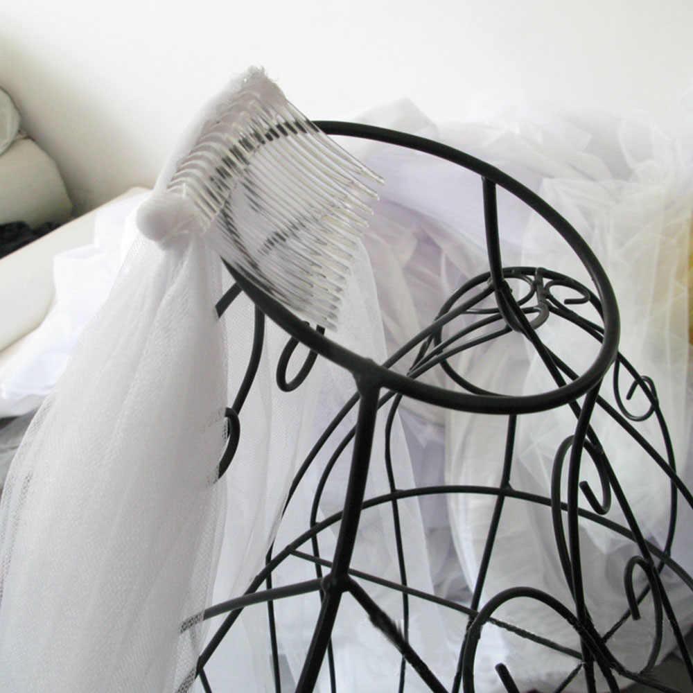 פשוט כלה רעלה קצרה טול לבן שנהב שתי שכבות חתונת רעלות סרט קצה עם שיער מסרק לחתונה מסיבת אבזרים
