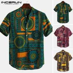 INCERUN рубашка с короткими рукавами Мужская принт в этническом стиле с воротником-стойкой, свбодная мужская повседневная гавайская рубашка