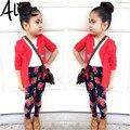 2015 moda Outono meninas roupas definir jaqueta + camisa da menina + flor calças meninas 3 peça conjunto de roupas roupa dos miúdos varejo