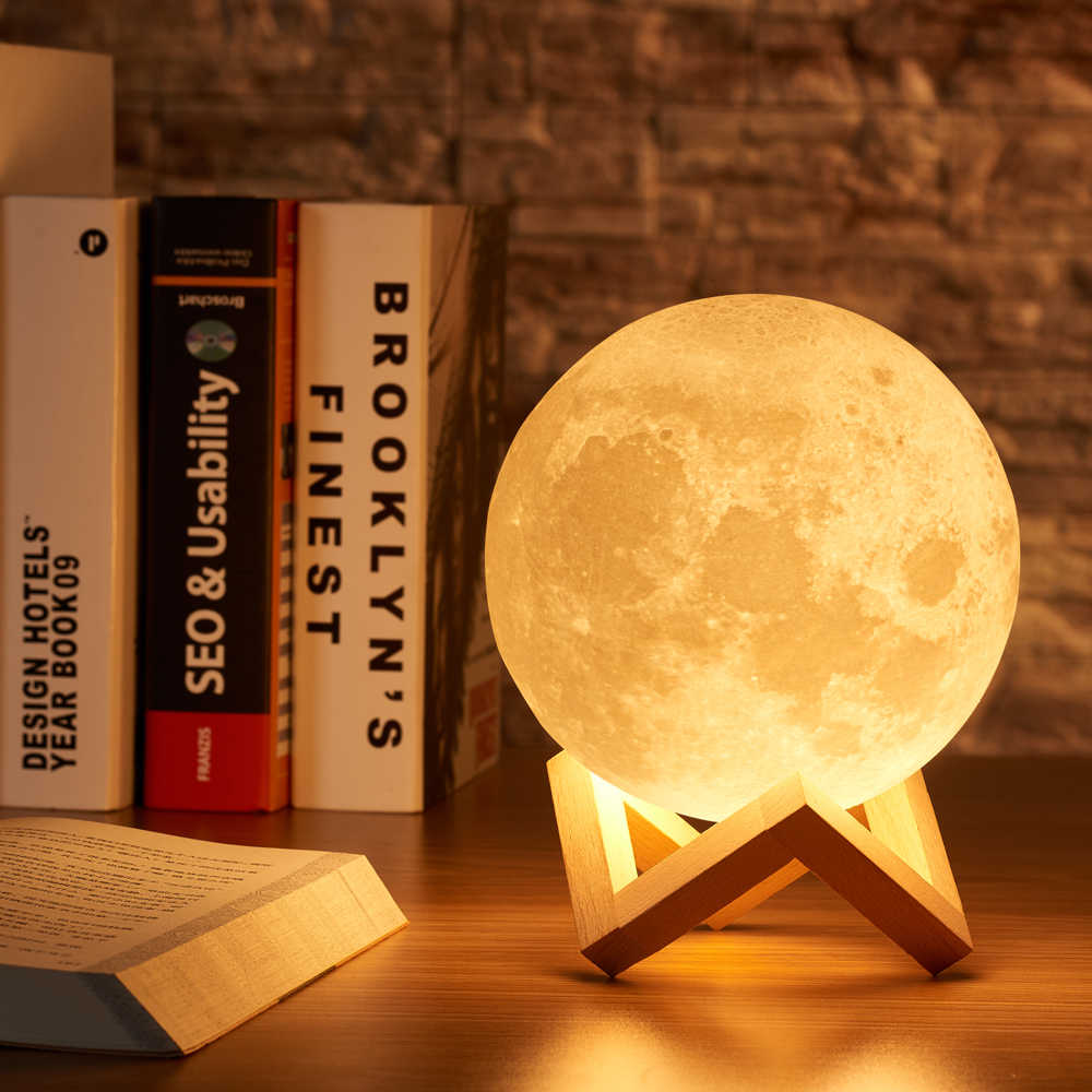 3D Принт 15 см луна лампа красочные изменения сенсорный Usb светодиодный ночник домашний декор креативный подарок для дочери Прямая доставка