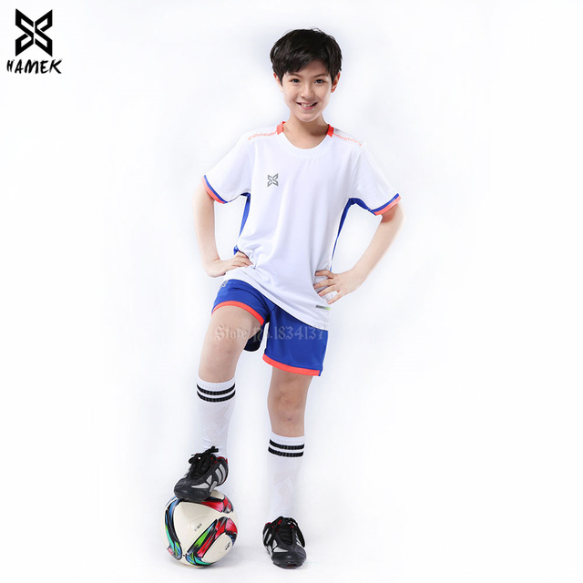 f7a04a9c0 Children Football Jerseys Boys Soccer Sets Training Team Uniforms Sports  Suits Polyester Customize Number Name logo New 2019