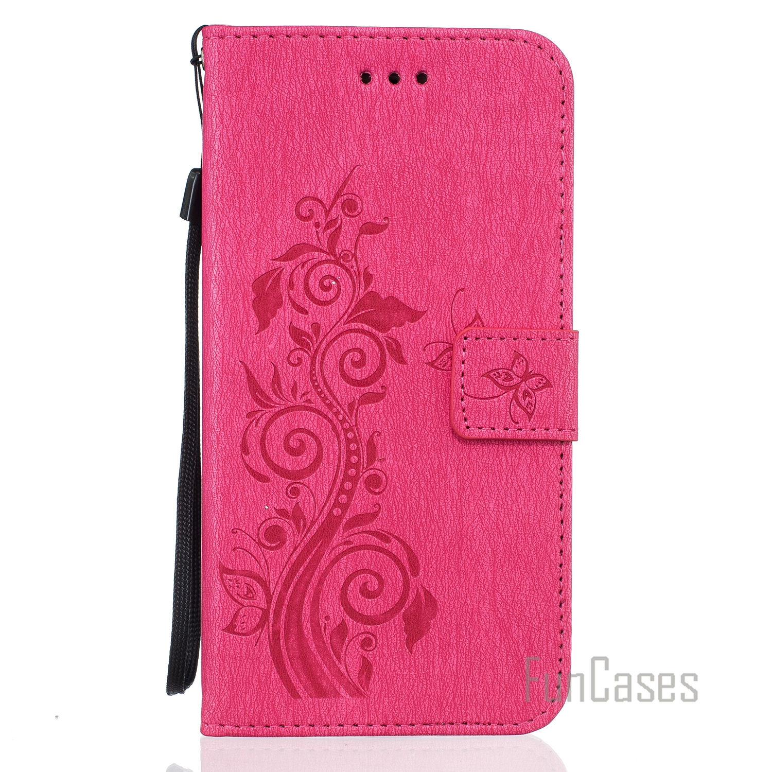 Luxury PU Leather Flip Phone Case Cover For iPhone 6S Embossing Wallet Card Slots Stand  ...