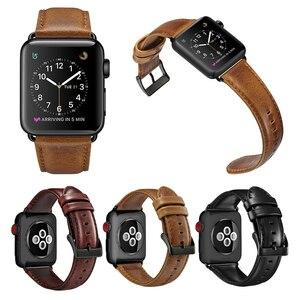 Image 2 - オイルワックス革ブレスレットappleの時計バンド 42 ミリメートル 38 ミリメートル 44 ミリメートル 40 ミリメートルシリーズ 4 3 2/viotoo時計iwatch時計バンド