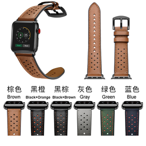 Image 5 - Leather WatchBand Straps For Iwatch 38 mm 44 mm , VIOTOO Green Color Genuine Leather WatchStraps Bands For Apple watch
