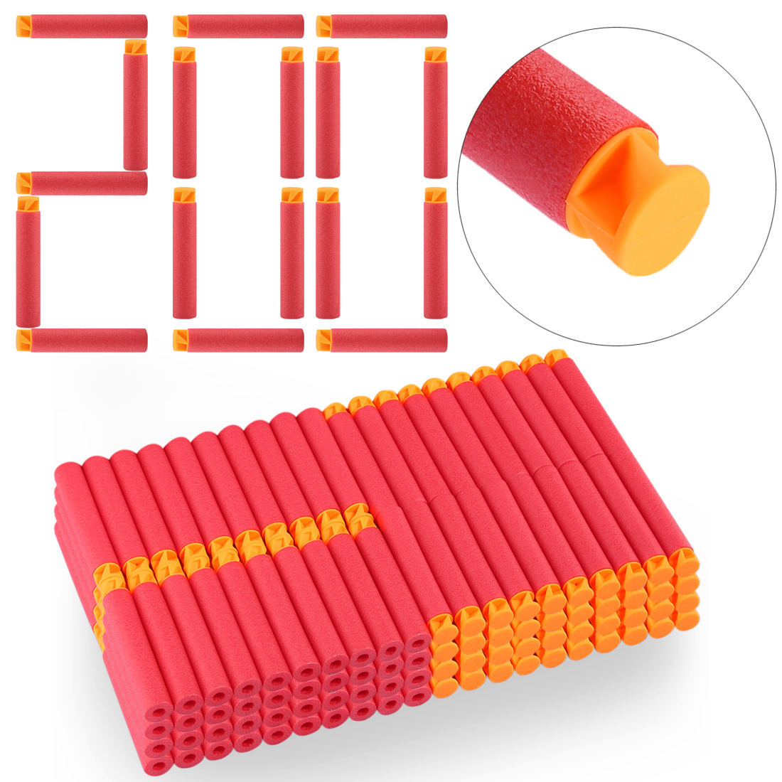 200PCS For Nerf Bullets Soft Flat Head 7.2cm Refill Darts Toy Bullets For Nerf Series Blasters Kid Children Christmas Gifts