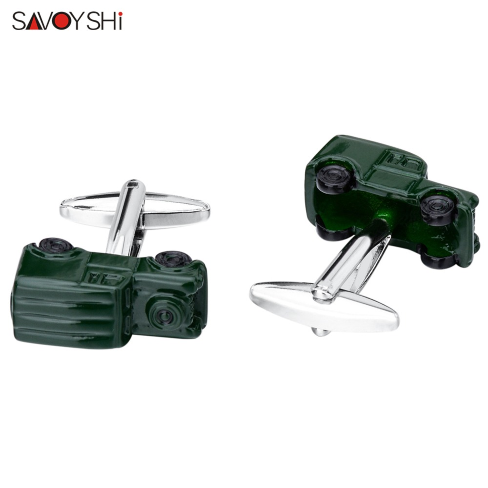 SAVOYSHI Novelty 3D Car Model Cufflinks for Mens Shirt Cuff bottons Gift High Quality Enamel Cuff Links Brand Fashion Jewelry in Tie Clips Cufflinks from Jewelry Accessories