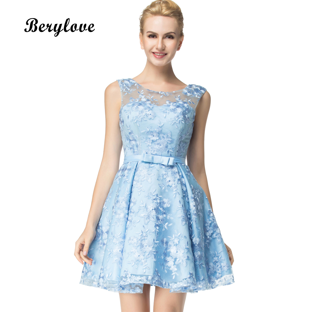 BeryLove Fashion Short Blue Lace Prom Dresses 2018 Mini Prom Gowns Short Plus Size Graduation Dresses Homecoming Dress Party
