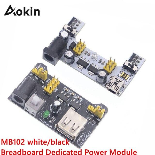 Módulo de fuente de alimentación sin soldadura MB102 para Arduino Nano 3,3 V 5 V MB102 Blanco/Negro Placa de prueba de energía dedicada módulo