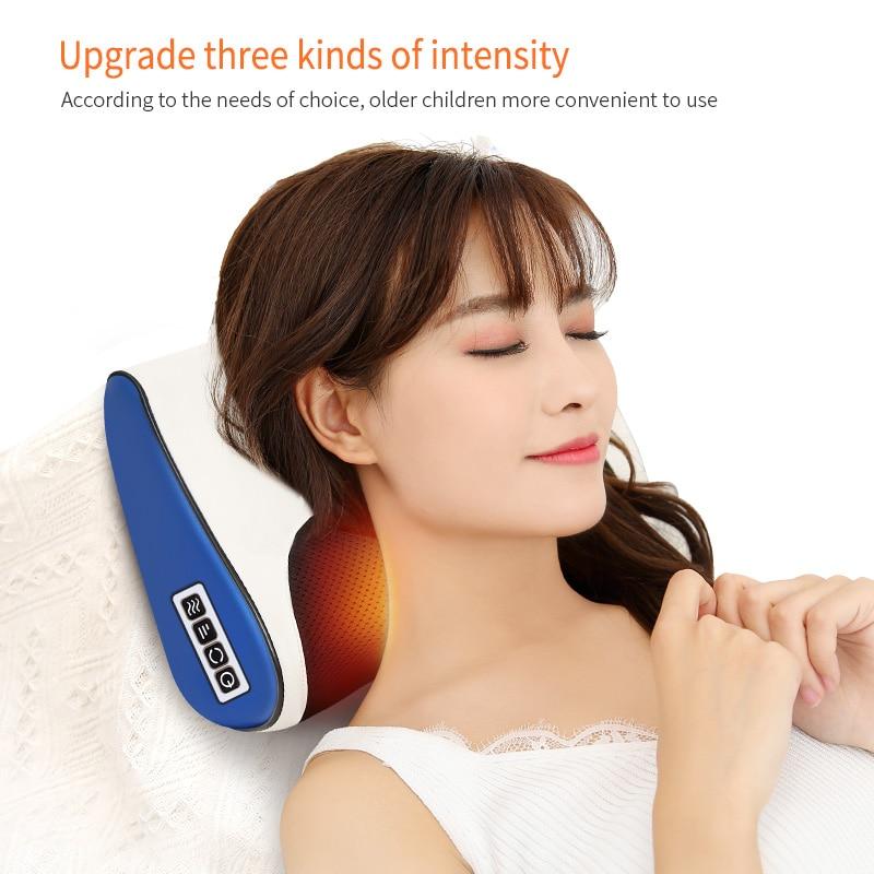 infrared heating neck shoulder back body electric shiatsu massage pillow for cervical health