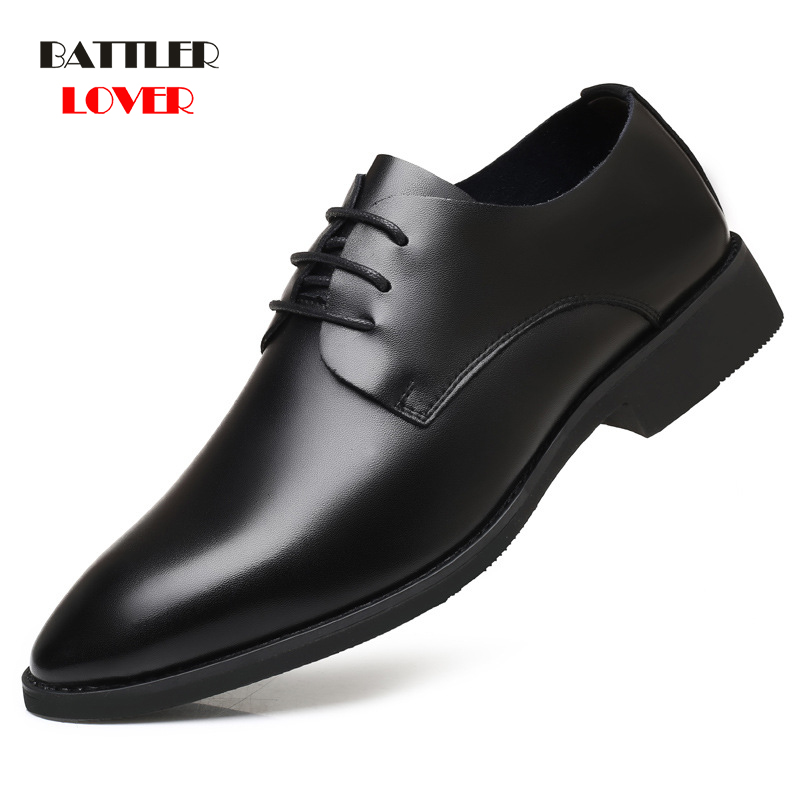 2019 New Men Cow Leather Oxfords High Quality Genuine Leather Shoes Classic Mens Formal Shoe Casual Bullock Dress Wedding Shoes