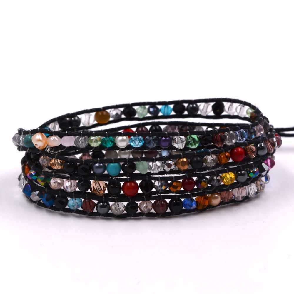 Beads Woven on Leather 4 Wrap multicolor crystal Bracelet Fashion Bangle Jewelry