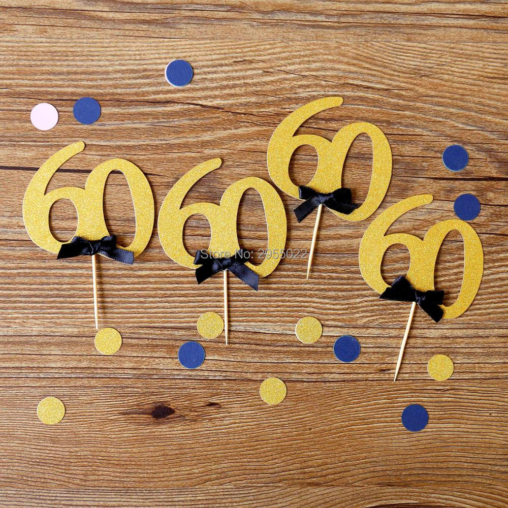 Glitter 60th Birthday Cake Toppers24 Set Ribbon Bow 60 Year Party Decor Anniversary Table Gold