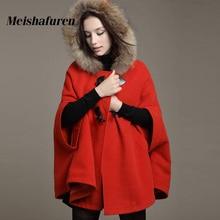 2017 New Women Fur Hooded Wool Poncho Casual Warm Batwing Loose Cape Autumn Winter Wool Blends Poncho Jacket Cloak Coat WT6600-Y