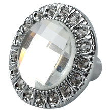 1pcs Crystal Glass Clear Round Pull Handle Glittering Rhinestone Knob for Cupboard Drawer Silver