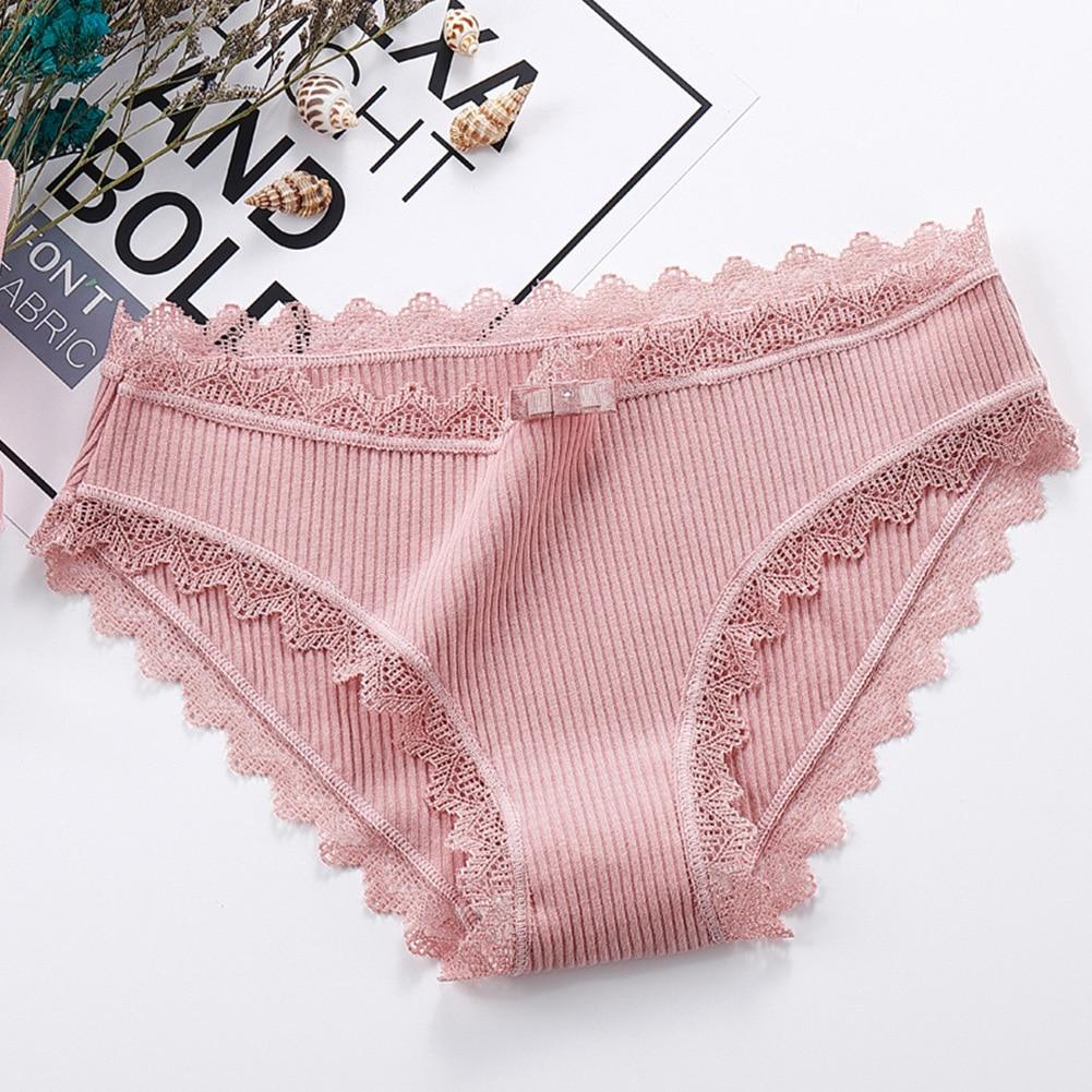 Cotton Causal Bowknot Thread Underwear Women Breathable Lingerie Briefs Simple