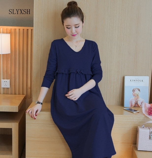 d458b28d0 Vestido de maternidad de enfermería para alimentación manga larga vestidos  mujeres embarazadas pijamas servicio lactancia materna