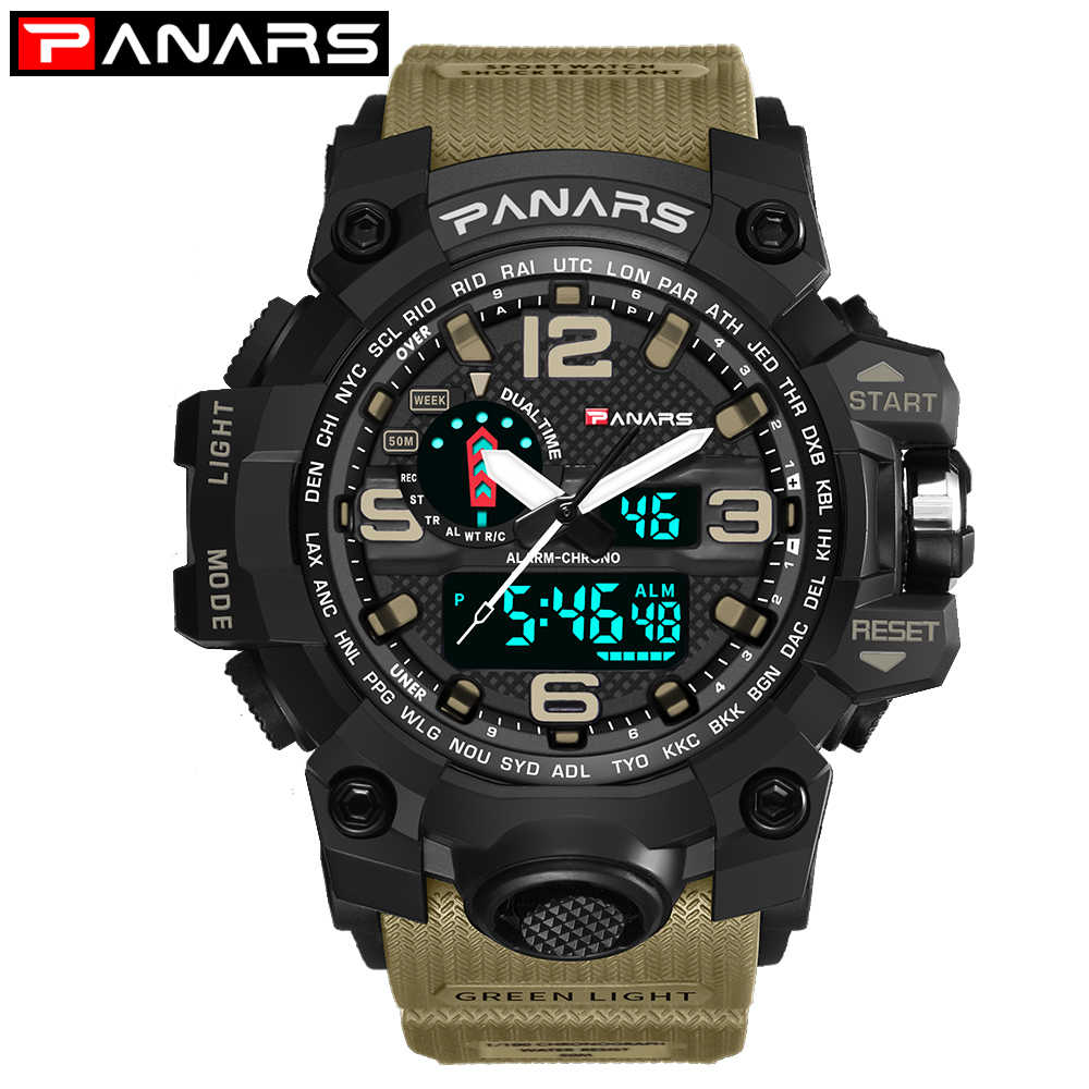 Panars גברים של שעונים מודרני דיגיטלי שעון LED אנלוגי אלקטרוני קוורץ שעונים 50M Waterproof ספורט יד שעון איש עם מצפן