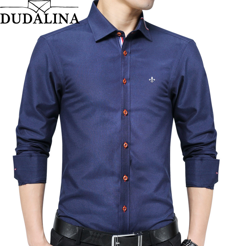 DUDALINA 2019 New Fashion Oxford Shirt Men Long Sleeve Shirt Men Clothes Slim Fit Casual Men Social Shirt Imported China