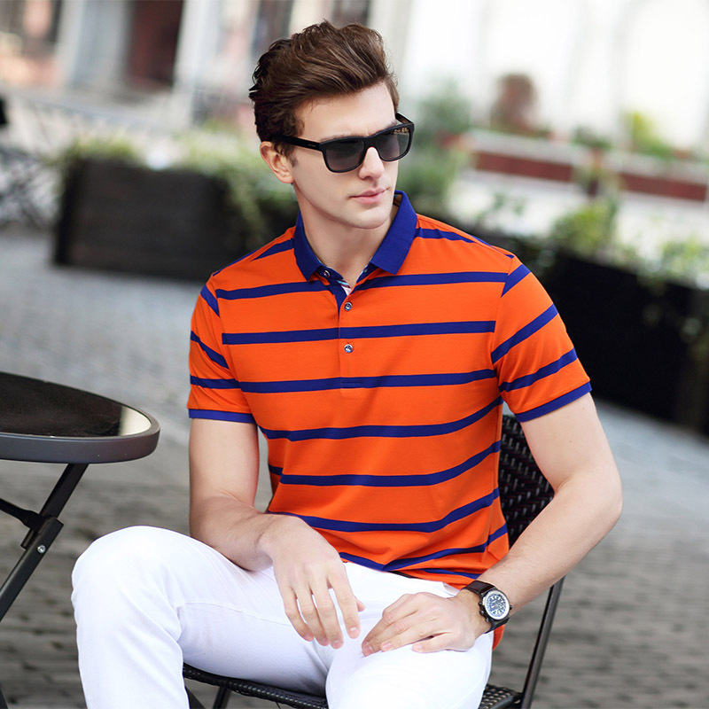 2019 Promotion Slim Striped Summer New Men's   Polo   Shirts Short -sleeve Solid Cotton Soft Brand   Polos   Stirped Plus Size