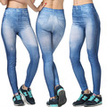 2016 New Arrival Women Spring Summer Ninth Legging High Waisted Washed Denim Vintage Solid Imitated Jeans High Elasticity
