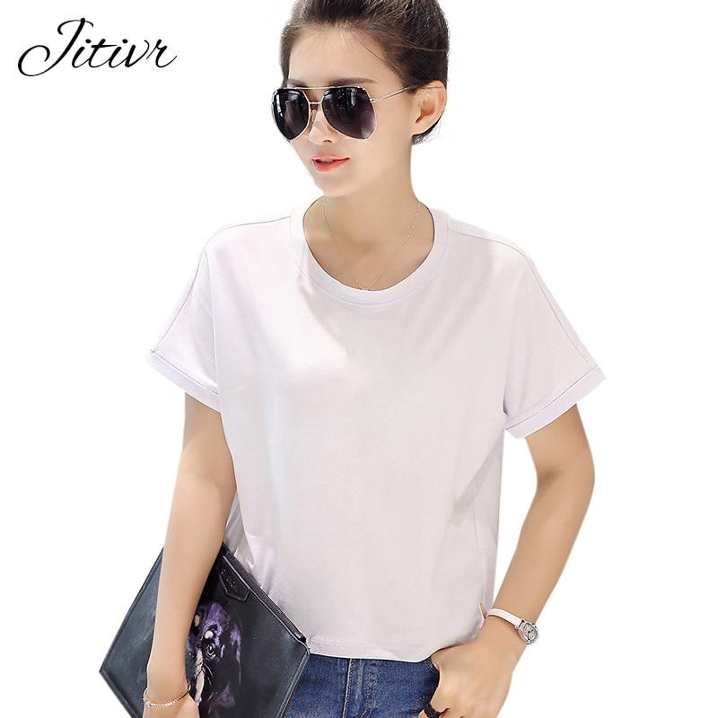 Jitivr Women T Shirts 2018 Summer Tee Shirt Women Solid Color Casual Black White Short -4475