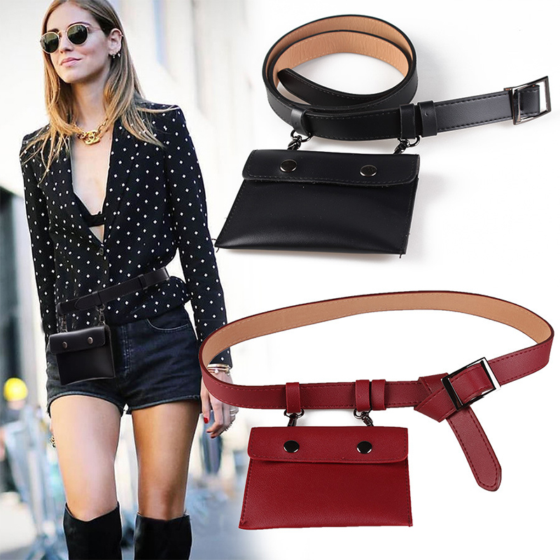 Fashion Women Waist Pack PU Leather Waist Bag Fashion Women's Pure Color Phone Pouch Bags Messenger For Ladies Girls Fanny Pack