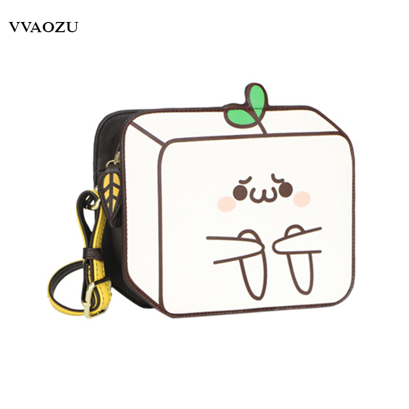 Novelty 2D Drawing Cartoon Paper Comic Bag Creative 3D Emoji PU Lolita Messenger Bags for Girls Women Shoulder Bags oreimo comic anthology