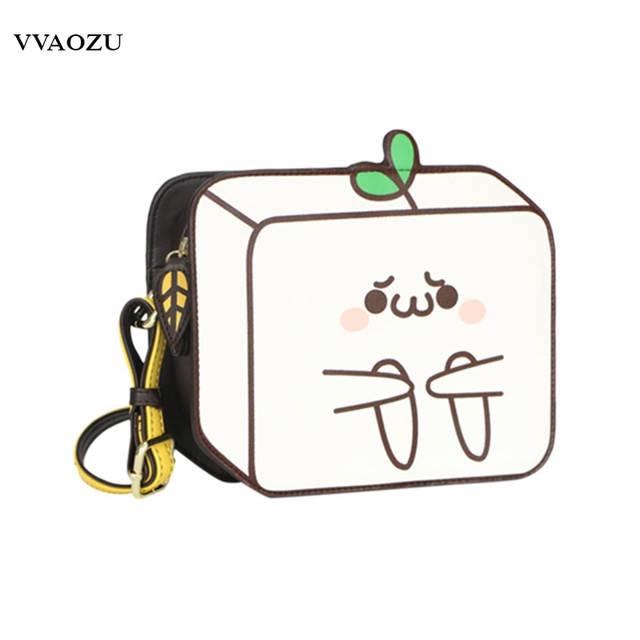 Novelty 2D Drawing Cartoon Paper Comic Bag Creative 3D Emoji PU Lolita  Messenger Bags for Girls Women Shoulder Bags